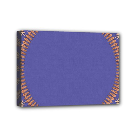Frame Of Leafs Pattern Background Mini Canvas 7  X 5