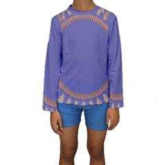 Frame Of Leafs Pattern Background Kids  Long Sleeve Swimwear