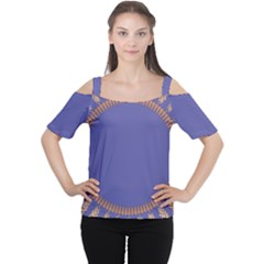 Frame Of Leafs Pattern Background Women s Cutout Shoulder Tee