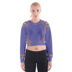 Frame Of Leafs Pattern Background Women s Cropped Sweatshirt
