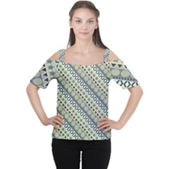 Abstract Seamless Background Pattern Women s Cutout Shoulder Tee