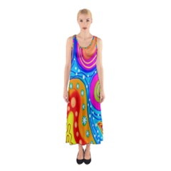 Hand Painted Digital Doodle Abstract Pattern Sleeveless Maxi Dress