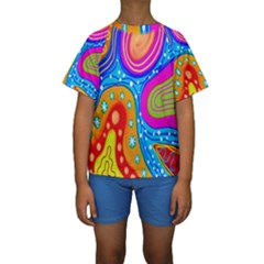 Hand Painted Digital Doodle Abstract Pattern Kids  Short Sleeve Swimwear