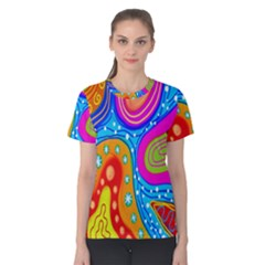 Hand Painted Digital Doodle Abstract Pattern Women s Cotton Tee