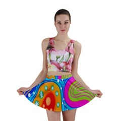 Hand Painted Digital Doodle Abstract Pattern Mini Skirt