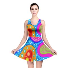 Hand Painted Digital Doodle Abstract Pattern Reversible Skater Dress