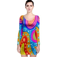 Hand Painted Digital Doodle Abstract Pattern Long Sleeve Bodycon Dress