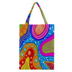 Hand Painted Digital Doodle Abstract Pattern Classic Tote Bag