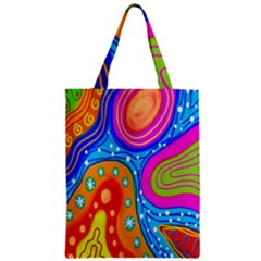 Hand Painted Digital Doodle Abstract Pattern Zipper Classic Tote Bag