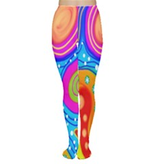 Hand Painted Digital Doodle Abstract Pattern Women s Tights