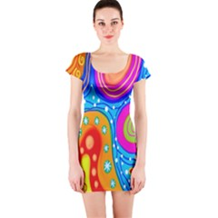 Hand Painted Digital Doodle Abstract Pattern Short Sleeve Bodycon Dress