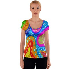 Hand Painted Digital Doodle Abstract Pattern Women s V-Neck Cap Sleeve Top