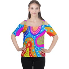 Hand Painted Digital Doodle Abstract Pattern Women s Cutout Shoulder Tee