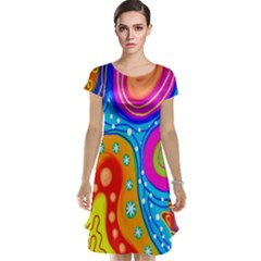 Hand Painted Digital Doodle Abstract Pattern Cap Sleeve Nightdress