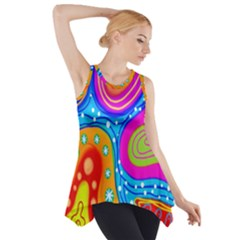 Hand Painted Digital Doodle Abstract Pattern Side Drop Tank Tunic