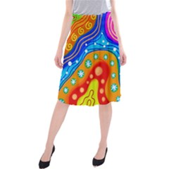 Hand Painted Digital Doodle Abstract Pattern Midi Beach Skirt