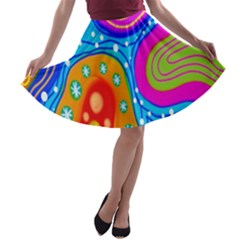 Hand Painted Digital Doodle Abstract Pattern A-line Skater Skirt