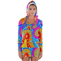 Hand Painted Digital Doodle Abstract Pattern Women s Long Sleeve Hooded T Shirt