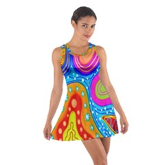 Hand Painted Digital Doodle Abstract Pattern Cotton Racerback Dress