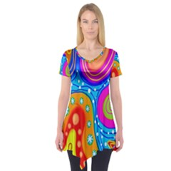 Hand Painted Digital Doodle Abstract Pattern Short Sleeve Tunic