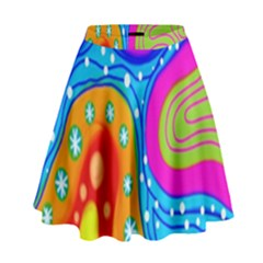 Hand Painted Digital Doodle Abstract Pattern High Waist Skirt