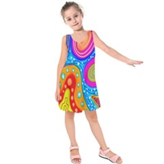 Hand Painted Digital Doodle Abstract Pattern Kids  Sleeveless Dress