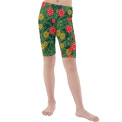 Completely Seamless Tile With Flower Kids  Mid Length Swim Shorts