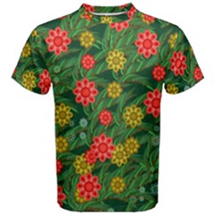Completely Seamless Tile With Flower Men s Cotton Tee