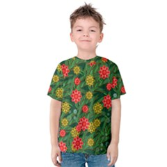 Completely Seamless Tile With Flower Kids  Cotton Tee