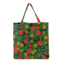 Completely Seamless Tile With Flower Grocery Tote Bag
