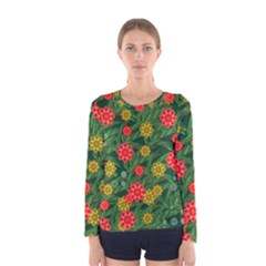 Completely Seamless Tile With Flower Women s Long Sleeve Tee