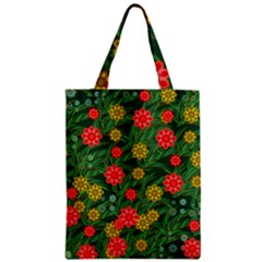 Completely Seamless Tile With Flower Zipper Classic Tote Bag