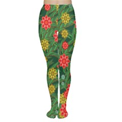 Completely Seamless Tile With Flower Women s Tights