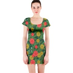 Completely Seamless Tile With Flower Short Sleeve Bodycon Dress