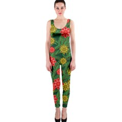 Completely Seamless Tile With Flower OnePiece Catsuit