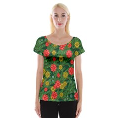 Completely Seamless Tile With Flower Women s Cap Sleeve Top