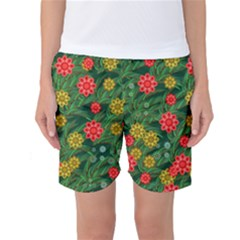 Completely Seamless Tile With Flower Women s Basketball Shorts