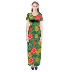 Completely Seamless Tile With Flower Short Sleeve Maxi Dress