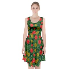 Completely Seamless Tile With Flower Racerback Midi Dress