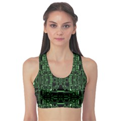 An Overly Large Geometric Representation Of A Circuit Board Sports Bra