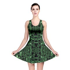 An Overly Large Geometric Representation Of A Circuit Board Reversible Skater Dress