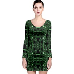An Overly Large Geometric Representation Of A Circuit Board Long Sleeve Bodycon Dress