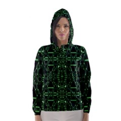 An Overly Large Geometric Representation Of A Circuit Board Hooded Wind Breaker (Women)