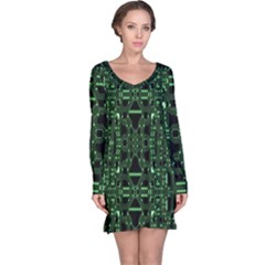 An Overly Large Geometric Representation Of A Circuit Board Long Sleeve Nightdress