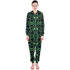 An Overly Large Geometric Representation Of A Circuit Board Hooded Jumpsuit (ladies)