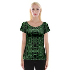 An Overly Large Geometric Representation Of A Circuit Board Women s Cap Sleeve Top