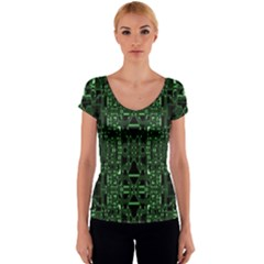 An Overly Large Geometric Representation Of A Circuit Board Women s V-Neck Cap Sleeve Top