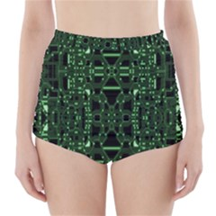 An Overly Large Geometric Representation Of A Circuit Board High-Waisted Bikini Bottoms
