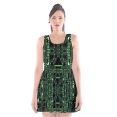 An Overly Large Geometric Representation Of A Circuit Board Scoop Neck Skater Dress