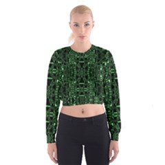 An Overly Large Geometric Representation Of A Circuit Board Women s Cropped Sweatshirt